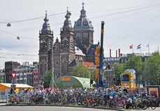 Bikes are Every Where in Amsterdam. View of a bike parking area outside the Central Station in Amsterdam Stock Photography
