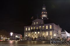 Bikes in front of the Maastricht town hall royalty free stock photo