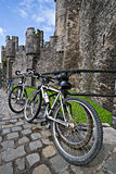 Bikes at the Ghent castle. Bikes and the Ghent castle stock photography