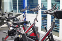 Bikes in the gym Stock Photography