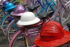 Bikes and helmets Royalty Free Stock Photo