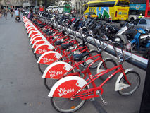 Bikes for hire Barcelona Royalty Free Stock Photos