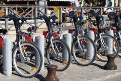 Bikes for hire, Seville, Spain. Royalty Free Stock Image
