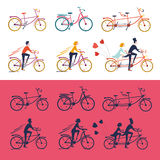 Bikes icon set. Bikes icons set. Isolated bicycles with people. Colored and silhouette version Stock Images
