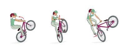 Bikes Jumping Ramps. A girl on a bicycle trains a rack, turns and jumps on a bicycle ramp. Bicycle jumping ramp. Exercise. Isolated on white background royalty free illustration