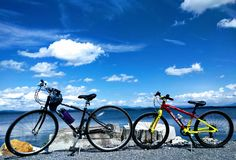 Bikes with the landscape. The island line rail trail in Vermont royalty free stock photo
