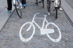 Bikes Lane Symbol and Cyclists, Amsterdam Stock Photography