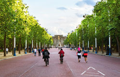 Bikes on the Mall. The Mall in London looking towards Buckingham Palace Royalty Free Stock Photo