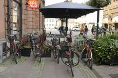 Bikes at Malmo street. Malmo, Sweden - September 17, 2018: Bikes parked at central street in Malmo, Sweden Royalty Free Stock Photos