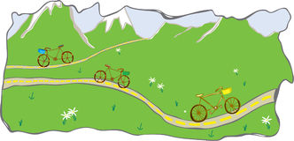 Bikes on mountain and valley road. Bikes with baskets meander along the road in this mountain and valley scene. Hand drawn, scanned and then colorized in a Stock Photos