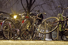Bikes by night in Amsterdam Netherlands Royalty Free Stock Images