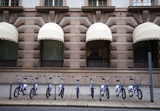 Bikes. Oslo, Norway. A row of bikes to hire. Oslo street, Norway stock images