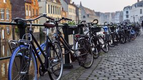 Bikes parked along the canal