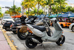 Bikes parked along ocean dr. street in south Miami Stock Images