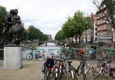 Bikes parked on bridge Gelderse Kade Stock Image