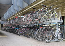 Bikes Parked In The City Royalty Free Stock Photography