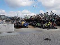 Bike parking lot at Amsterdam stock photos