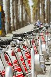 Bikes parked on the street in Barcelona, Spain Royalty Free Stock Photo