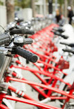 Bikes parked on the street in Barcelona, Spain royalty free stock photos