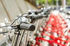 Bikes parked on the street in Barcelona, Spain Stock Photography