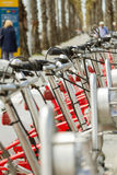 Bikes parked on the street in Barcelona, Spain Royalty Free Stock Image