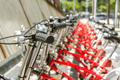 Bikes parked on the street in Barcelona, Spain royalty free stock images