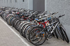 Bikes parked on street, Shanghai Royalty Free Stock Photography