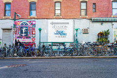 Bikes parked at subway entry in Brooklyn Royalty Free Stock Image