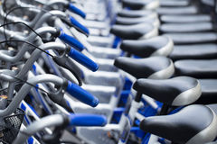 Bikes parking row for rent university. Stock Photo