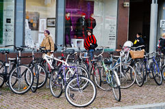 Bikes parking in Tampere Finland Royalty Free Stock Photos