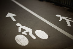 Bikes and pedestrian lanes Royalty Free Stock Photography