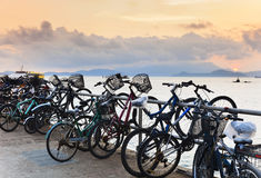 Bikes on pier Royalty Free Stock Photos
