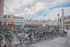 Bikes at the plaza - Brussels - Belgium Royalty Free Stock Image