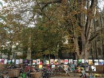 Bikes and Posters Oxford, United Kingdom. The bikes, the posters and the entire town is educational and so academic. I live this place Royalty Free Stock Image