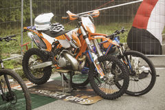 Bikes at the race. CASALE MONFERRATO, OCTOBER 10, 2016: Motorcycle and bike for Ironbike race, that mixes run, bike and motorcycle in a single race royalty free stock photography