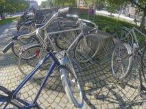Bikes in racks