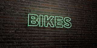 BIKES -Realistic Neon Sign on Brick Wall background - 3D rendered royalty free stock image Stock Photo