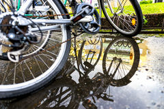 Bikes with reflection Royalty Free Stock Images
