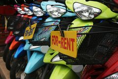 Bikes for rent. Pretty bikes lining up in competition Royalty Free Stock Images