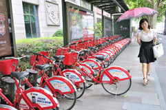 Bikes for rent. In hangzhou city china Royalty Free Stock Images