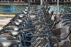 Bikes for rent docking station in Copenhagen, Denmark. Royalty Free Stock Photos