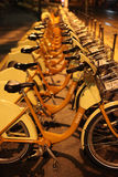 Bikes for Rent at Night Royalty Free Stock Photos