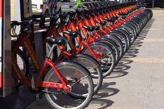 Bikes. Rent-a-bikes parked in a row Stock Images