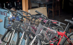 Bikes for rent. A photo of some bikes used in Tioman island Malaysia by visitors and tourists. These bikes are for rent Royalty Free Stock Photos