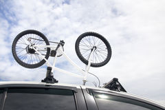 Bikes on the roof of a car Royalty Free Stock Photo