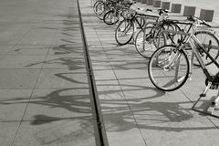 Bikes in a row Stock Photography