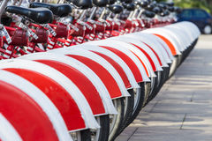 Bikes In A Row, Barcelona Imagen de archivo libre de regalías