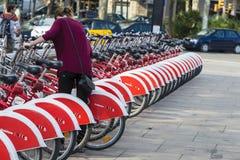 Bikes In A Row, Barcelona Imagen de archivo