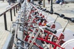 Bikes In A Row, Barcelona Imágenes de archivo libres de regalías