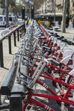 Bikes In A Row, Barcelona Royalty Free Stock Photography